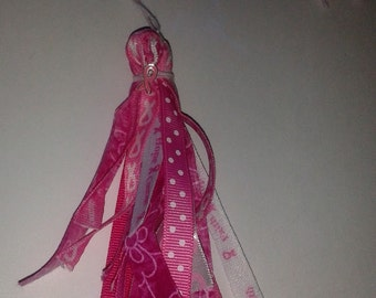 Pink Ribbon Breast Cancer Bead Fabric Ribbon Tassel Embellishment Tie-on Planner