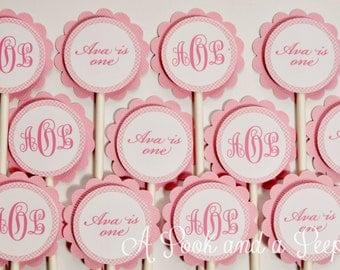Pink Gingham Monogram Cupcake Toppers - Set of 12