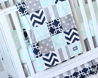 Elephant Nursery Crib Bedding Set Baby Boy Navy Blue Crib