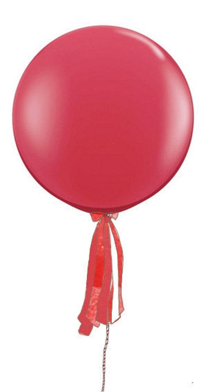 3 Foot Round Ruby Red Designer Balloon w/Tassel