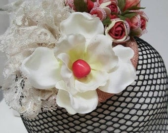Pink and cream lace and flower fascinator