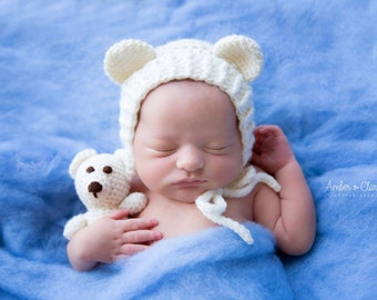 Newborn Teddy Bear Bonnet and Teddy Bear, Newborn Photo Prop, Newborn Teddy Bear Set, Baby Bear Bonnet and Stuffie, Baby Teddy Bear Set