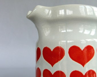 Vintage Waechtersbach White n Red Heart Pitcher - made in W Germany, 1970s, Ceramic, Collectible, Vase, Watering Can, Planter, Anniversary