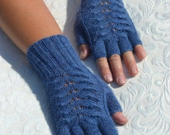 Hand-knitted half finger gloves, blue gloves