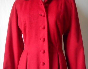 vintage 1950s robin red wool new look Dior style coat S/M