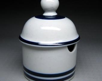 DANSK Blue Mist stoneware condiment / mustard / jam jar with lid