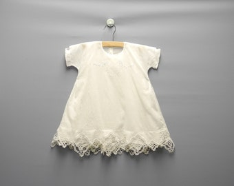 Vintage Baby Clothes, 1930's Handmade White Embroidered and Tattted Baby Girl Dress Set, White Baby Dress, Vintage Baby Dress,Size 24 Months