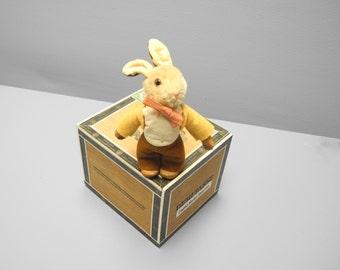 """Vintage Baby Toy, 1950's Unmarked Rare Steiff """"Bib"""" Bunny Rabbit, Light Brown Steiff Bunny Rabbit, Steiff Hare, Steiff Boy Bunny Rabbit"""