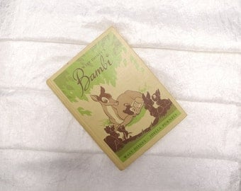 Vintage Children's Books, Walt Disney's Bambi, Vintage Baby Book, Vintage Story Book, Vintage Nursery Decor