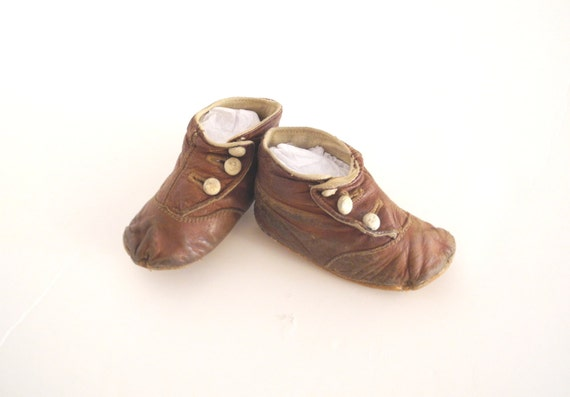 Vintage Baby Shoes 1900 s Victorian Brown Leather Baby