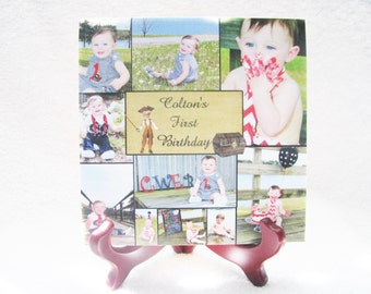 Photo Collage Tile - Photo Gift - First Year Gift - First Year Keepsake - Collage Gift