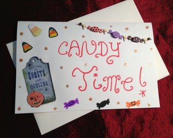 Candy Time-- Handmade Halloween Greeting Card-- Clearance Price