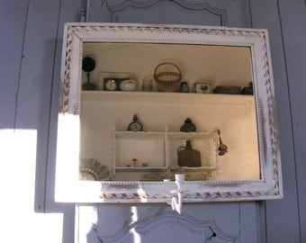 French Antique Mirror - Shabby chic and romantic mirror Gray -  Gustavian Style - Period 1900