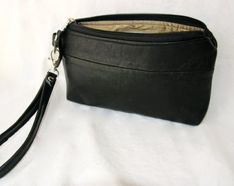 Leather wristlet, make-up bag, clutch purse,medium silk-lined upcycled black leather