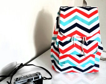 Turquoise  Chevron / Zigzag   Backpack,Back to school , Student Backpack,travel  Backpack/Travel,School,Daily Backpack/Unisex Rucksack