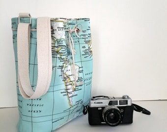 Free style / World Maps Bucket Bag  , Student bag,Word Maps printed bucket bağ /Travel,School,Daily /Unisex Rucksack / Moms gift