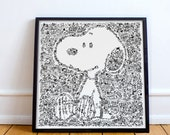 Snoopy - Charlie Brown best companion -Peanuts-  Intricate doodle illustration in Open Edition print - doodling beagle  dog art
