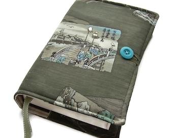 Large Bible Cover, Japanese Vintage Kimono Fabric. UK Seller, Shogunate Parade, for Hardback or Paperback Books