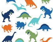 Clip Art Set - Dinosaurs - TRex, Stegosaurus, Triceratops - Blue, Teal Green Orange - 11 Print Ready Files - JPG and PNG Format - ID254