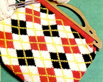 1960's Knitted Argyle Knitting Bag or Purse with Wooden Handles Pattern Instant Download PDF