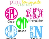 Vinyl Monogram Decal for Yeti, Car, Laptop in Circle, Vine Interlocking and Stacked Fonts