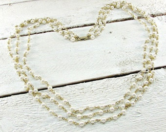 Vintage Pearl Statement Necklace, Long Pearl Necklace, Triple Multi-Strand Layered Necklace, Gold Link Chain Necklace, 1960s Costume Jewelry