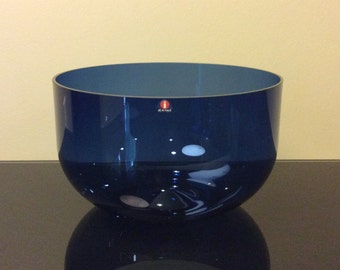 Iittala Finland designed Timo Sarpaneva Large Glass I-Series Blue Punch Bowl