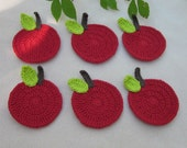 Red Apple Crochet Coasters Set of Six.