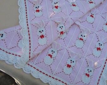 Custom order! Crochet Pink Baby Blanket with bunny, rabbits for little girl / Easter Bunny