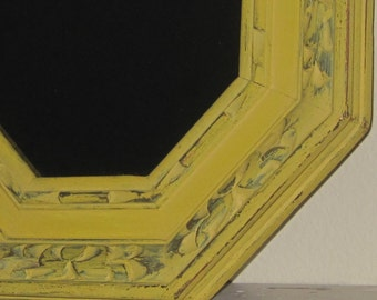 Hand Carved Wood Mirror Chunky Vintage Octagonal Amber Mirror  Primitive Yellow