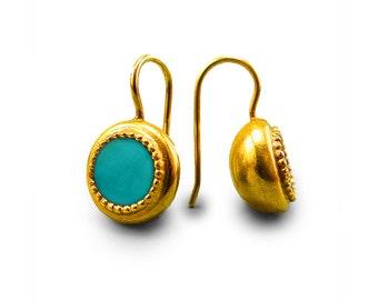 Turquoise Earring, ethnic earring, dangle earring, turquoise jewelry, boho earrings, december birthstone, handmade earrings, gold earring