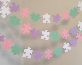 Adoption shower decor- Puzzle Piece Garland - Missing Piece Adoption decor - Autism Awareness - 10 foot Puzzle garland - Your color choices