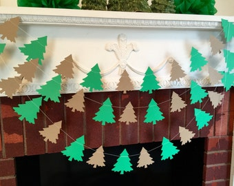 Shabby Chic Christmas Tree Garland, Christmas Decor, Christmas Decoration,  Holiday Banner, Holiday