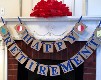 Happy Retirement Party Banner  / Retirement Banner / Gone Fishing / Office Retirement Party Sign/ Retirement Decor / You Pick the Colors