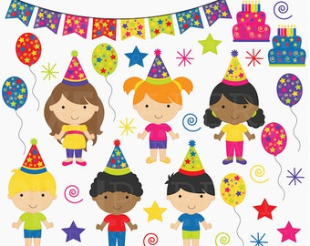 birthday clipart clip art kids children - Birthday Kids Digital Clip Art