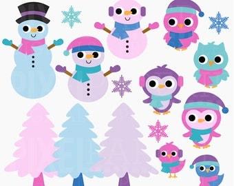 winter clipart snow snowman penguin polar bear birds - Snow Buddies Digital Clipart