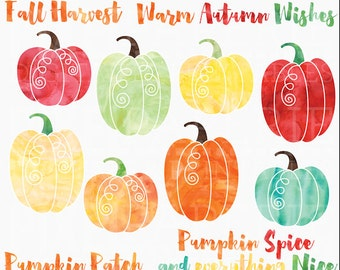 watercolor pumpkins clipart digital clip art - Watercolor Pumpkins Digital Clipart