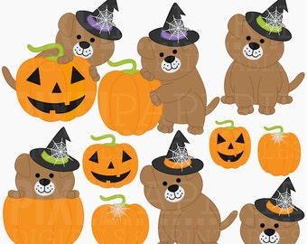 halloween puppy clipart clip art puppies - Halloween Puppies Digital Clipart