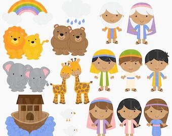 christian clip art bible characters clipart digital religious - Noah's Ark Digital Clipart