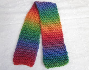 Hand Knit Head Band, Head Warmer, Ear Warmer, Chunky Knit, Adjustable, Ties, Soft Wool, Brilliant Rainbow, Child's Scarf