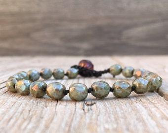 Hippie Boho Beaded knotted crochet single wrap bracelet - artisan boho - yoga boho - boho bracelet - boho wrap bracelet