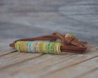 Bohochic - Boho Bracelet - Fiber Bracelet - Yarn Bracelet - Bohemian Jewelry - Fashion Jewelry - Leather Bracelets - Boho Fashion