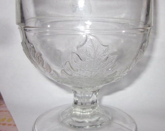 Antique EAPG McKee Brothers 1868 new pressed leaf Buttermilk Goblet,charming glass,tabletop,tableware,Shabby Chic