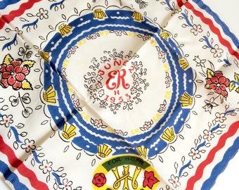 Vintage Handkerchief Queen Elizabeth II Coronation Souvenir