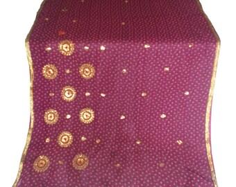 Purple chiffon used Sari, Dress Making, Fabric, Sarong, Drape, Embroidered Sari in purple