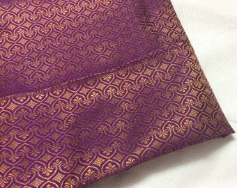 One yard of Indian silk brocade in purple and gold