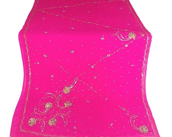 Fuschia and gold Used Sari, Dress Making, Fabric, Sarong, Drape, Embroidered Sari