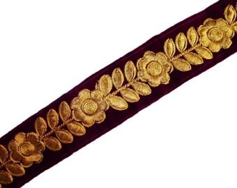 One yard trim/border/ribbon on purple velvet with gold flowers