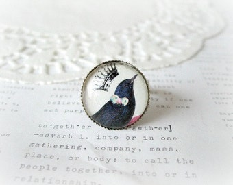 Silver Black Bird with Crown Ring