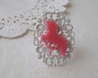 White Oval Filigree with Pink Unicorn Ring